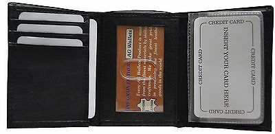 Mens Trifold Genuine Leather Wallet Case Credit Card Window ID License Black New