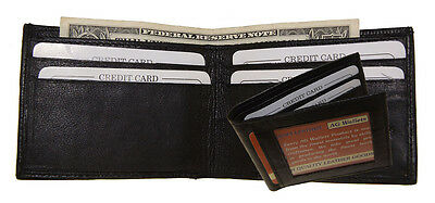 Mens Genuine Leather Outside ID Slim Bifold Mini Thin Front pocket Wallet Black