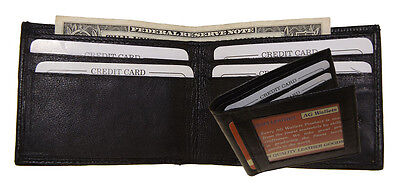Mens Genuine Leather Outside Id Slim Bifold Black Thin Wallet Mini New