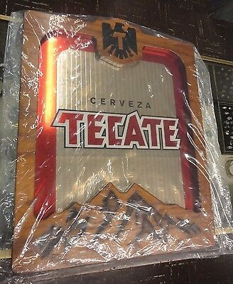 """BEER SIGN MIRROR Cerveza Tecate Wood Picture Frame Fancy 15 3/4"""" x 19 3/4"""" Bar"""