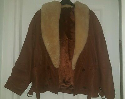 Vintage leather aviator jacket size 10 will fit 12
