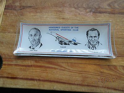1972 Concorde Commemorative Glass Pen Tray ~ Sporting Club ~ Trubshaw / Turcat
