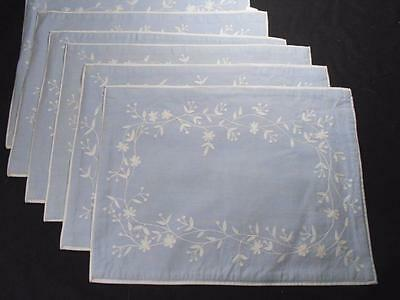 6 Vintage Pottery Barn Large Place Mats Light Blue W/white Tambour Embroidery,