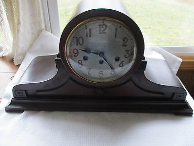 Large Antique Junghans German Deco Mantle Project Clock With Chimes