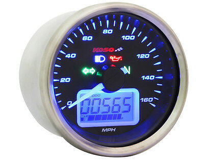 Digital Speedometer Gauge MPH/KH idiot lights & universal cable drive KOSO D64