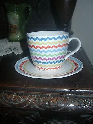 Cath Kidston New Large Cup and Saucer -RIC-RAC Design