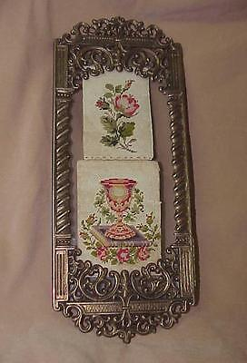 Antique Petit Point Paper Punch Rose Samplers in Vintage GIM Cast Metal Frame