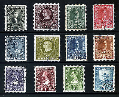 MONTENEGO 1910 50th YEAR OF KING NICHOLAS I REIGN SET: 12 STAMPS FINE USED