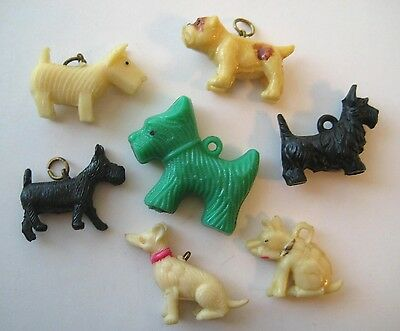 1940's VINTAGE Celluloid Charms ALL DOGS Cracker Jack Prize LOT #1