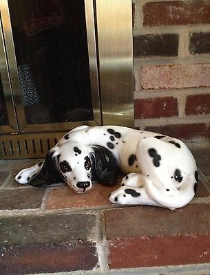 Vintage Large Reclining Ceramic DALMATION Dog  Figurine - Made in Italy