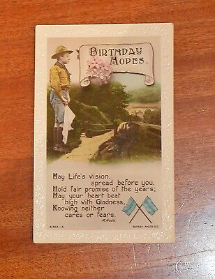 Early Boy Scout Birthday postcard - Pub. Rotary Photo (ref. B.363--4) - in vgc