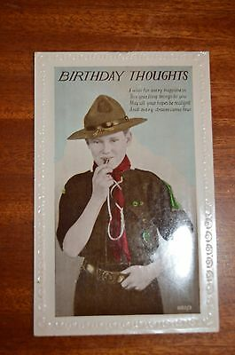 Boy Scout 9th Birthday postcard with verse - very good condition