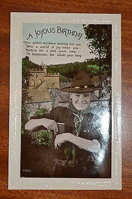 Boy Scout Birthday postcard with verse - very good condition