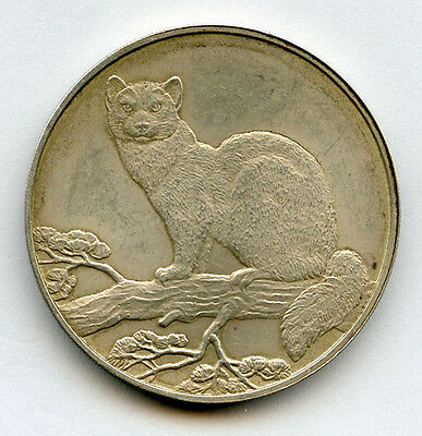 Russia 1995 Silver 3 Roubles-Sable On Branch Silver Crown 1 Oz.toned Unc.