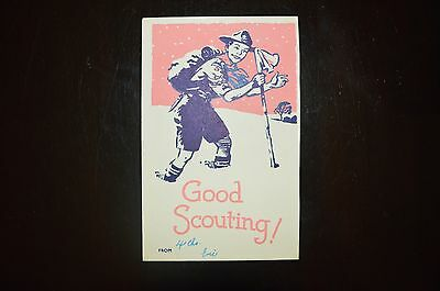1945 Boy Scout postcard depicting a Scout hiking in snow (Scout Shop No. 4511)