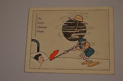 1913 Boy Scout Xmas card 'The Scout's Christmas Dream' - in good condition