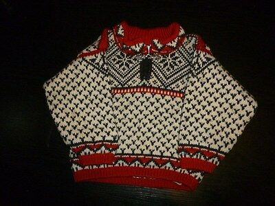 Dale of Norway Kids' Sweater 100% Wool White Blue Red Size 2 Years