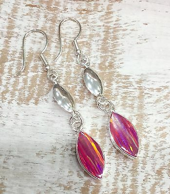 EARRINGS Mexico Sterling Silver Plated Opalite Handmade Fair Trade Taxco Pink