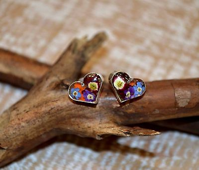 Heart Earrings Mexico  .925 Sterling Silver Pressed Flowers Fair Trade gift