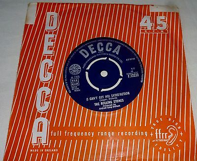 """THE ROLLING STONES (I Can't Get No) Satisfaction: DECCA F.12220: 7"""" Single:1965"""