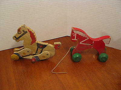 Vintage Set Of 2 Wooden Horse Pull Toys