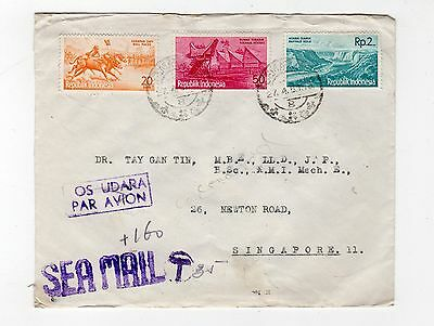 Indonesia: 1961 Underpaid Sea Mail Cover To Singapore (C24676)