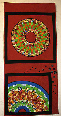 Planet Colorful Day and Night Art Quilt - handmade and original