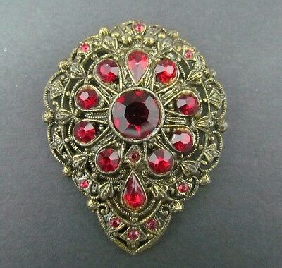 Vintage 1950's New England Glassworks Ruby Red Rhinestone Dress Fur Clip Pin