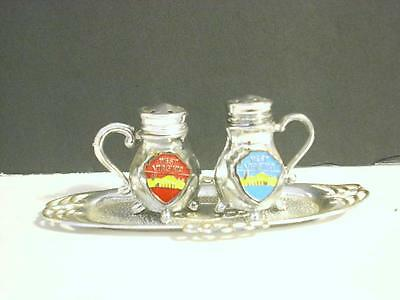 Vintage West Virginia Salt Pepper Shakers On Tray Japan (E2)