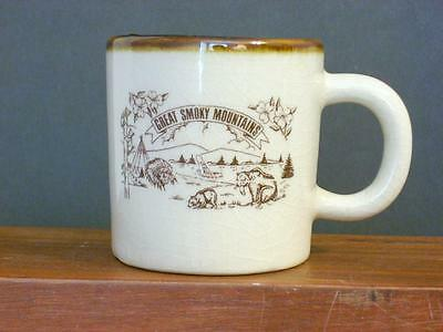 Great Smoky Mountains Vintage Coffee Cup Brown Drip  (C9)