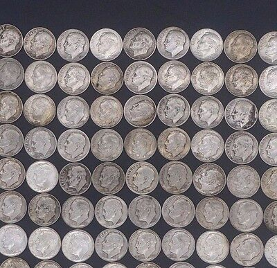 Roosevelt Dimes Lot of (91) Assorted Dates & Mint Marks 90% Silver UNSORTED