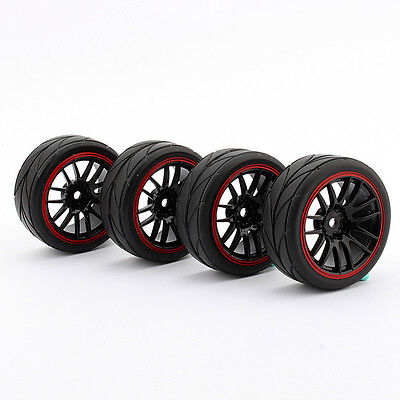 1:10 On Road Racing RC Car Rubber Tires Wheels Tyres Rims HSP HPI 9068-6081 - UK