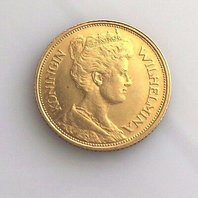 "1912 Netherlands 5 Gulden Gold Coin- Whihelmina I - KM151 ""UNC."""