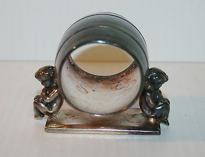 Victorian Silver Plated Napkin Ring Meriden Small Children Holding Ring #147