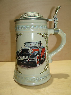 Vintage Car Lidded Beer Stein W. Germany