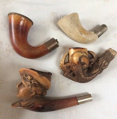 Antique Pipes Smoking Items,job Lot Of 4,tobacciana Collectors,carved Mearsham