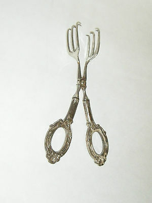Web Germany Mid Century Vintage Sterling Silver Pastry Ice Fork Scissor Tongs