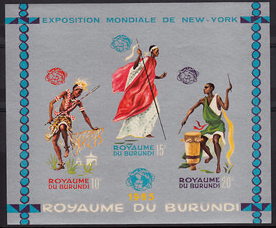 XG-A205 BURUNDI - Costumes, 1965 New York Expo Silver Imperf. MNH Sheet