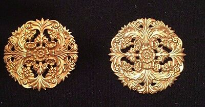 Vintage Antique Raw Brass Stamping Wreath Lot of (2) American Made Jewelry