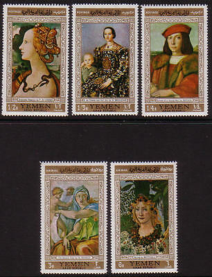 XG-A343 YEMEN - Paintings, 1970 Italian, Botticelli, Raphael, Bronzino MNH Set