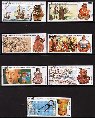 XG-A368 COLUMBUS - Vietnam, 1989 Ships, Caravels, Used CTO Imperf. 7 Stamps Set