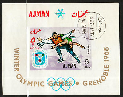 XG-A413 AJMAN - Olympic Games, 1967 Winter Grenoble 1968 Imperf. Used CTO Sheet