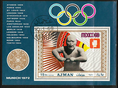 XG-A415 AJMAN - Olympic Games, 1969 Mexico '68 Munich '72 Imperf. Used CTO Sheet
