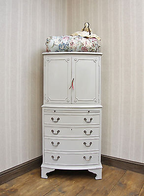 Antique Bow Front Painted Tall Boy Cabinet, Nursery Cabinet, F&B, shabby chic