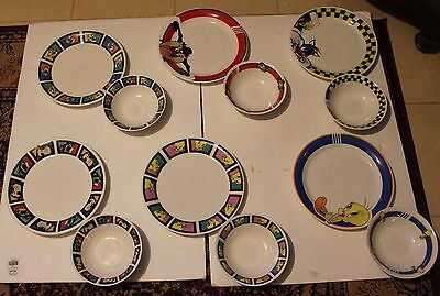 Lot Of 12 Looney Tunes Dishes 6 Plates & 6 Bowls Bugs - Taz - Tweety - Sylvester