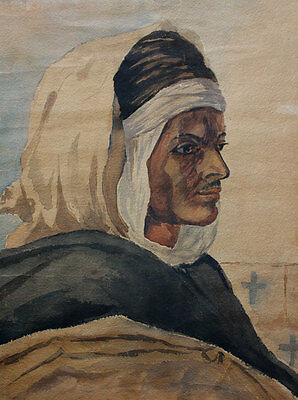 Antique watercolor, orientalism. Portrait of a bedouin. Early 1900s