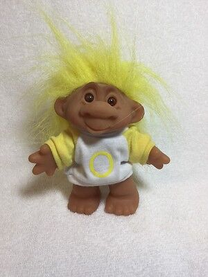 "Lucky �� Bingo Troll Doll By Dam Letter ""O"" Color Yellow Hair Stamped 1986"