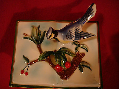 Norcrest Fine China Wall Pocket Blue Bird and Holly - Japan
