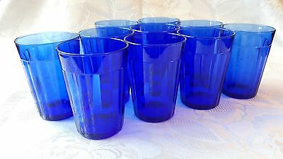 x 10 vintage, 16-sided, blue glass tumblers, made in France