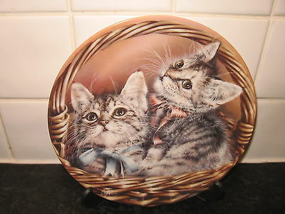 Cat  Plate  -Andrew & Abby    -  Baskets Of Love      - Bradford Exchange